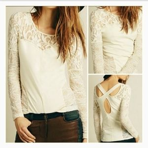 Free People Keyhole Back Lace Accent Long Sleeve T